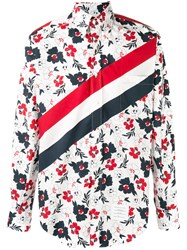 Thom Browne Striped Floral Shirt Red