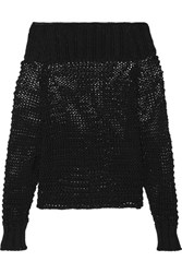 Calvin Klein Collection Ebner Off The Shoulder Cable Knit Cotton Sweater Black