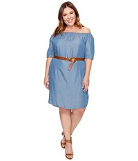 Michael Michael Kors Plus Size Denim Off Shoulder Sleeveless Dress Light Cadet Wash Women's Dress Blue