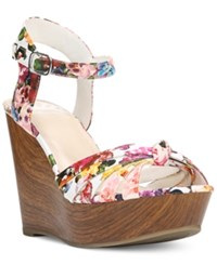 Fergalicious Willa Platform Wedge Sandals Women's Shoes White Floral