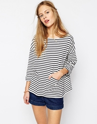 People Tree Breton Top Navystripe