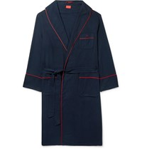 Isaia Piped Cotton And Cashmere Blend Robe Blue