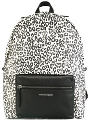 Alexander Mcqueen Leopard Print Backpack White