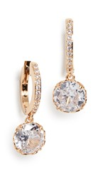 Kate Spade New York Pave Huggie Earrings Clear Gold