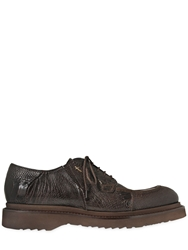 Cesare Paciotti Ostrich Leather Derby Lace Up Shoes Brown