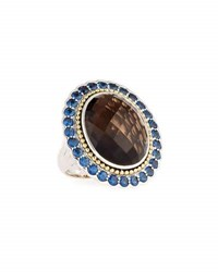 Lagos Smoky Quartz Ring With Blue Sapphire Halo Brown
