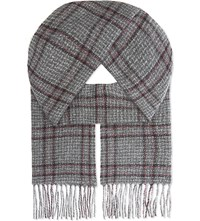 Johnstons Donegal Cashmere Scarf Charcoal Boysenberry