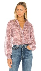 7 For All Mankind Puff Sleeve Button Up Shirt In Pink. Rose Leopard