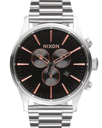 Nixon Silver Stainless Steel Sentry Chrono Watch With Pink Details Grey