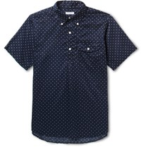 Engineered Garments Button Down Collar Half Placket Polka Dot Cotton Shirt Navy