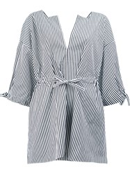 Maison Rabih Kayrouz Striped Split Neck Blouse White