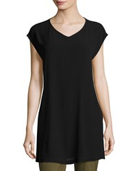 Eileen Fisher V Neck Silk Georgette Crepe Tunic W Pockets Petite Black
