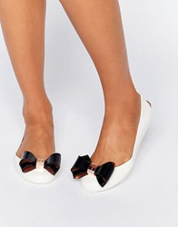 Ted Baker Julivia Bow Cream Ballet Flat Shoes Cream Black Pvc