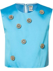 Maison Rabih Kayrouz Embellished Cropped Top Silk Polyester Blue