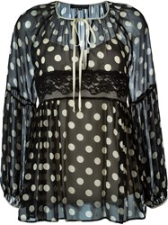 Twin Set Polka Dot Print Sheer Blouse Black