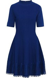 Lela Rose Woman Flared Guipure Lace Trimmed Stretch Knit Dress Royal Blue