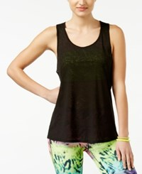 Material Girl Active Juniors' Sheer Open Back Tank Top Only At Macy's Black