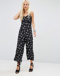 Asos Jumpsuit In Ditsy Floral Print With Lace Trim Multi