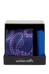 Wurkin Stiffs Paisley Tie And Pocket Square Set Blue