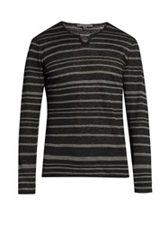 John Varvatos Striped V Neck Linen Jersey Sweater Grey Multi