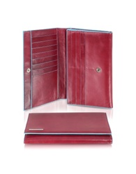Piquadro Blue Square Women's Multi Pocket Flap Leather Wallet Red