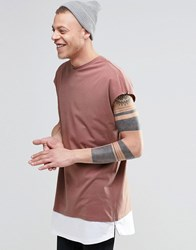 Asos Oversized Sleeveless T Shirt With Layered Scoop Hem And Side Zips In Pink Burlewood