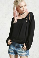 Forever 21 Distressed French Terry Top Black
