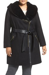 Via Spiga Plus Size Women's Wool Blend Coat With Faux Fur Trim Black