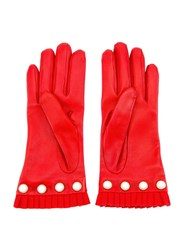 Gucci Pearl Embellished Gloves Red