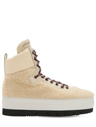 Philippe Model Adele Faux Shearling High Top Sneakers Off White