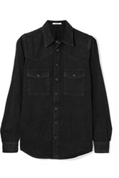 Givenchy Embroidered Denim Shirt Black