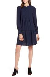 Halogen Pintuck Detail Shift Dress Navy Peacoat