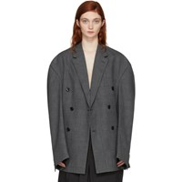 Vetements Grey Oversized Double Breasted Check Blazer