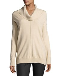 Neiman Marcus Cowl Neck Pullover Poncho Sweater Tan
