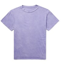 The Elder Statesman Washed Cotton Jersey T Shirt Purple