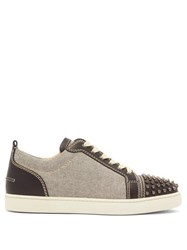 Christian Louboutin Louis Junior Spike Embellished Leather Trainers Black