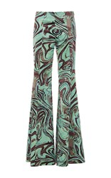 Emilio Pucci Printed Velvet Trousers Green