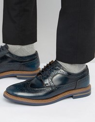 Base London Turner Leather Brogue Shoes Navy