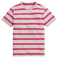 Joules Boathouse Striped Cotton T Shirt Raspberry Grey
