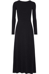 Elizabeth And James Caden Tie Back Ribbed Stretch Knit Midi Dress Midnight Blue