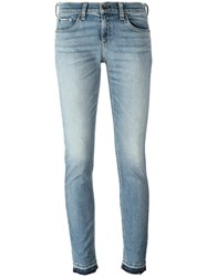 Rag And Bone Jean Double Cuff Cropped Jeans Blue