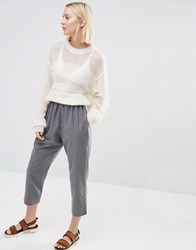 Paisie Cropped Trousers With Wool Mix Grey