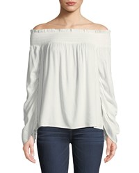 Paige Cherita Smocked Off The Shoulder Drawstring Sleeve Top White