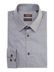 Corsivo Noce Chambray Shirt With Classic Collar Grey