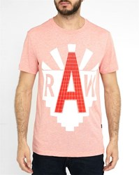 G Star Mottled Red Vodan Round Neck T Shirt With White Raw Printed Logo
