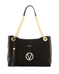 Valentino By Mario Valentino Verra Large Suede Leather Quilted Tote Bag Black