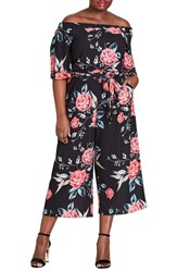 City Chic Plus Size Off The Shoulder Cropped Jumpsuit Romaji Floral