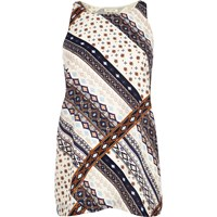 River Island Womens Cream Tile Print Vest