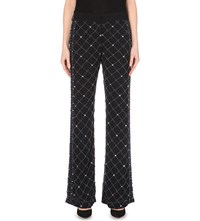 French Connection Pearl Cage Embellished Flared Trousers Black