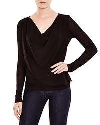 Velvet By Graham And Spencer Draped Chiffon Overlay Tee Black